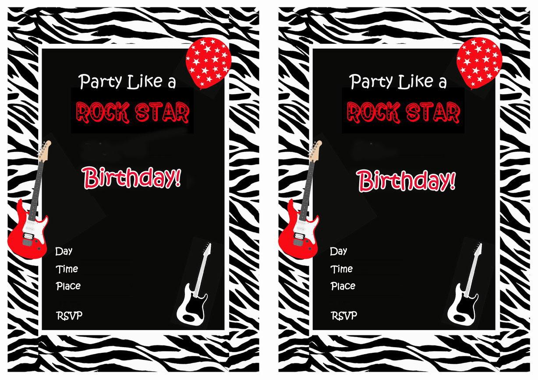 Rock Star Birthday Invitations Birthday Printable – Rockstar Party Invites
