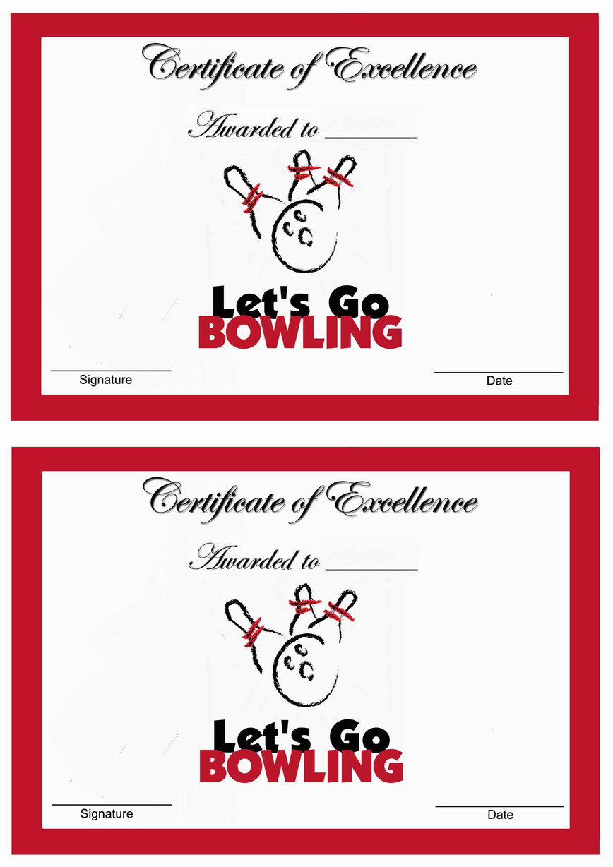 Bowling Awards Birthday Printable