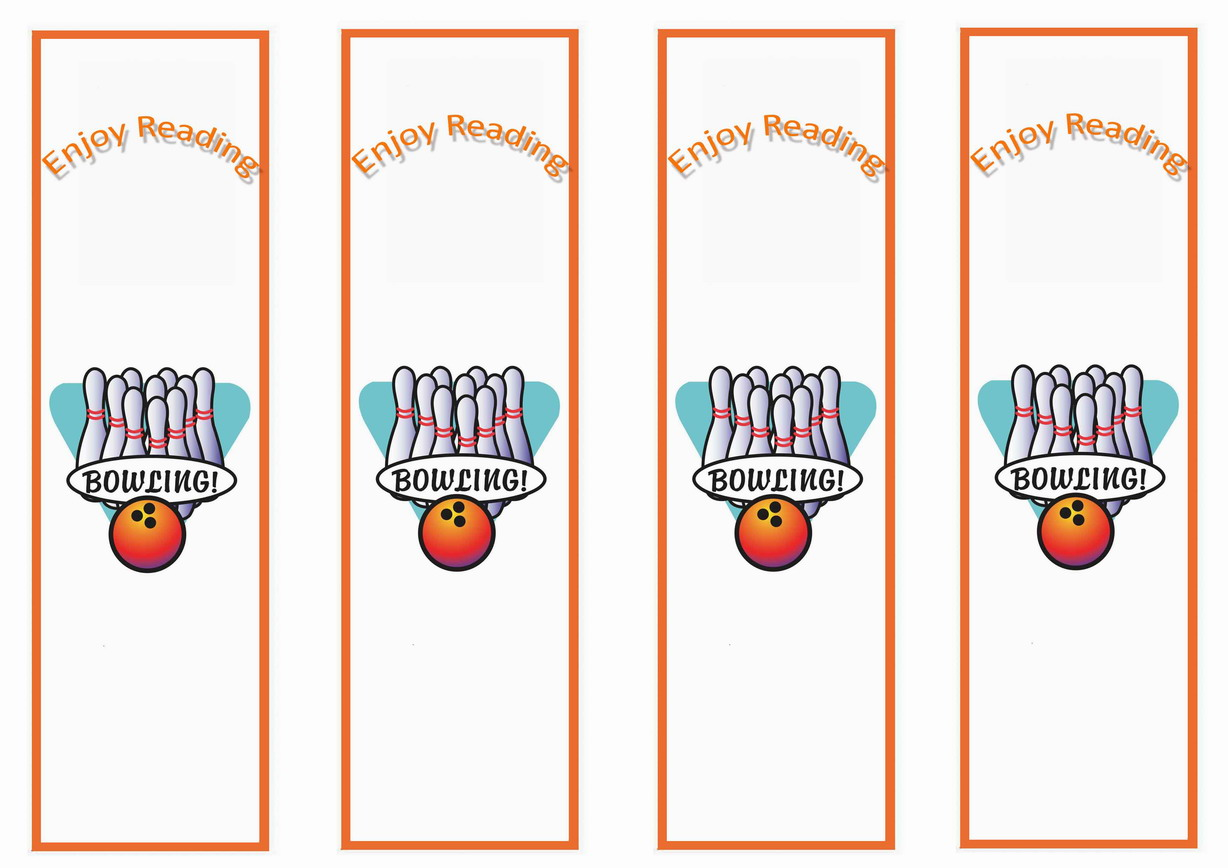 Bowling Bookmarks Birthday Printable