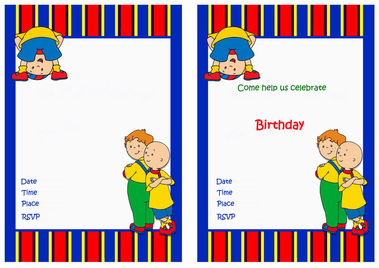Caillou Birthday Invitations – Birthday Printable