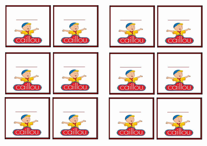 Caillou Name Tags – Birthday Printable
