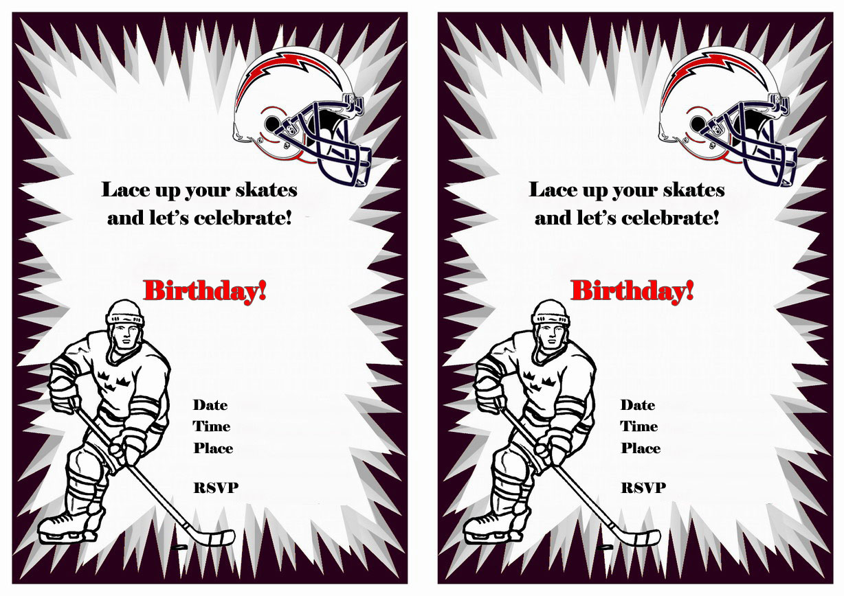 Hockey Birthday Invitations Birthday Printable