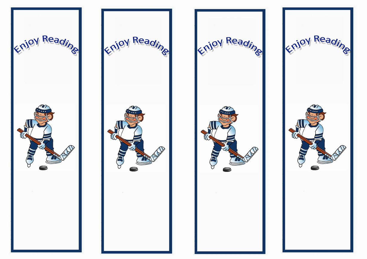 Hockey Bookmarks Birthday Printable