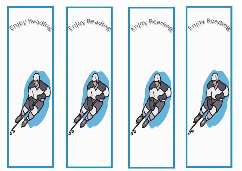 Hockey Bookmarks Birthday Printable
