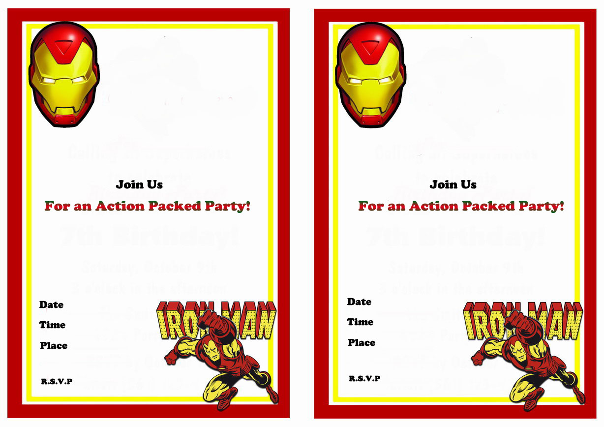 Iron Man Birthday Printable Invitations Click Image Below To Enlarge And Print