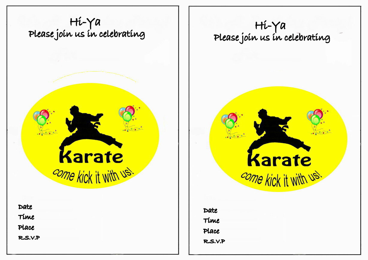 Karate Birthday Invitations Birthday Printable – Martial Arts Birthday Invitations