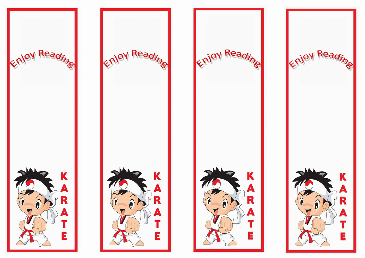 Karate Bookmarks Birthday Printable