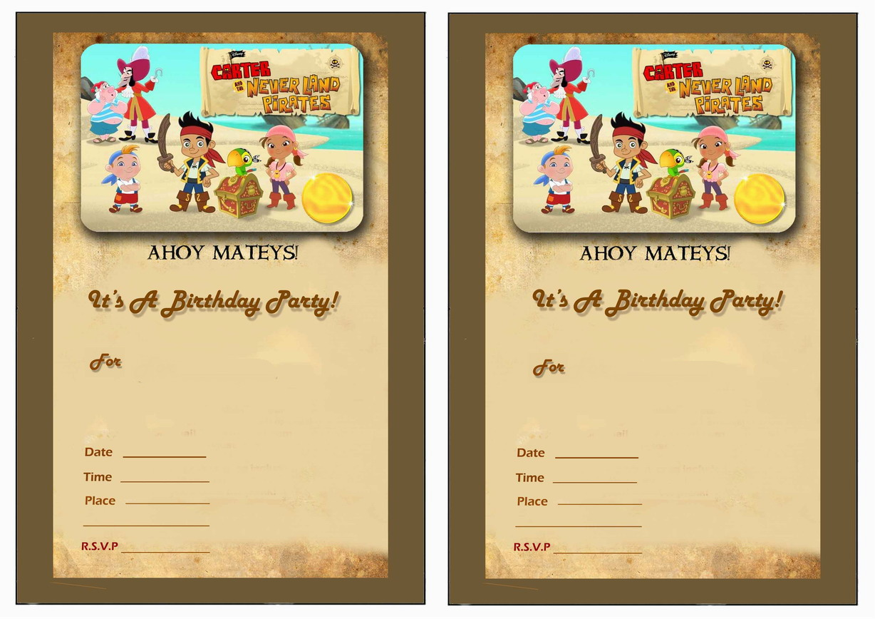 Jake and the Never Land Pirates Birthday Invitations – Birthday ...