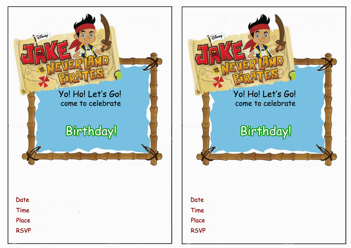 Jake and the Never Land Pirates Birthday Invitations Birthday – Free Jake and the Neverland Pirates Birthday Invitations