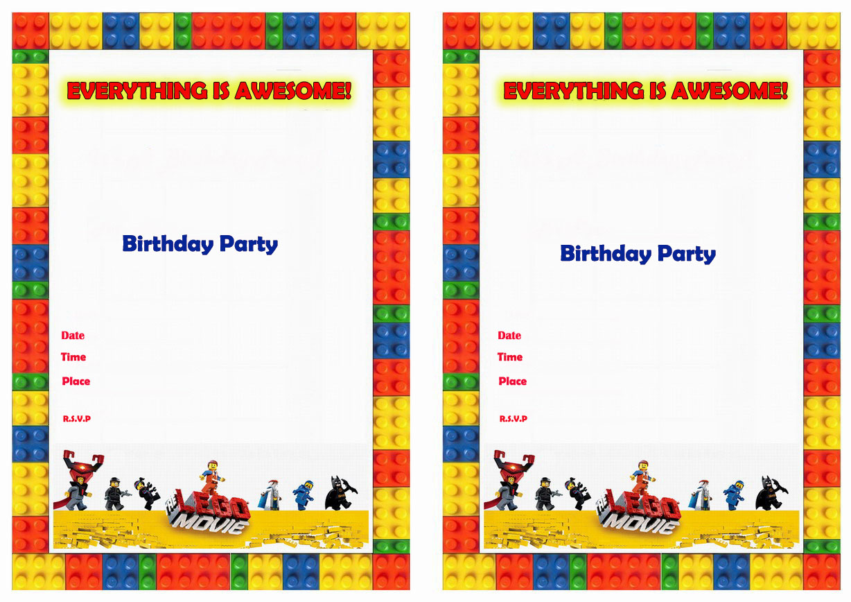 The Lego Movie Birthday Invitations