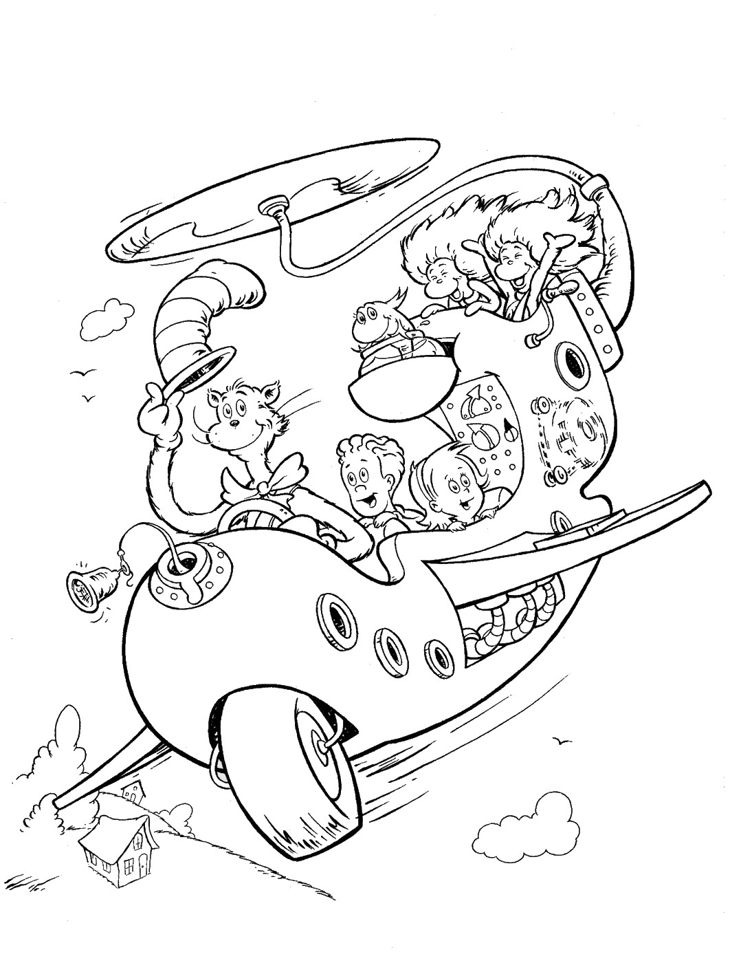 Coloring page of cat in the hat - Dr Seuss Printable Coloring Pages
