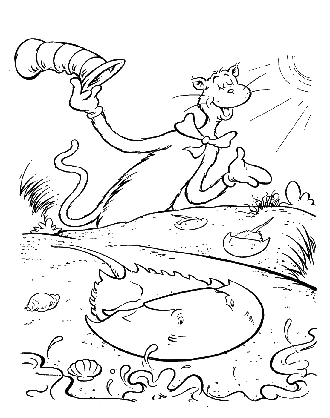 Cat In The Hat Coloring Pages Momjunction Page Excellent Printable With Colouring