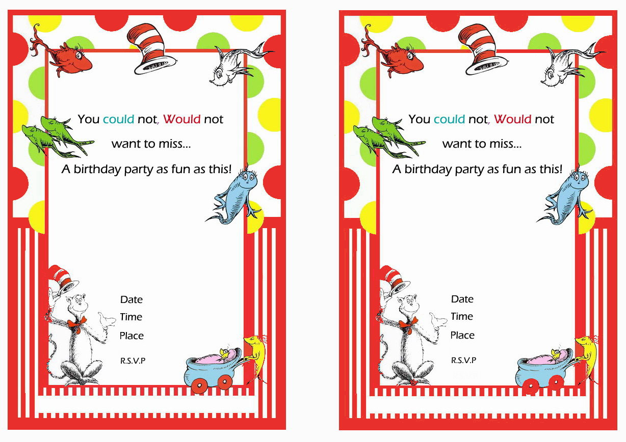 Dr. Seuss Birthday Invitations – Birthday Printable
