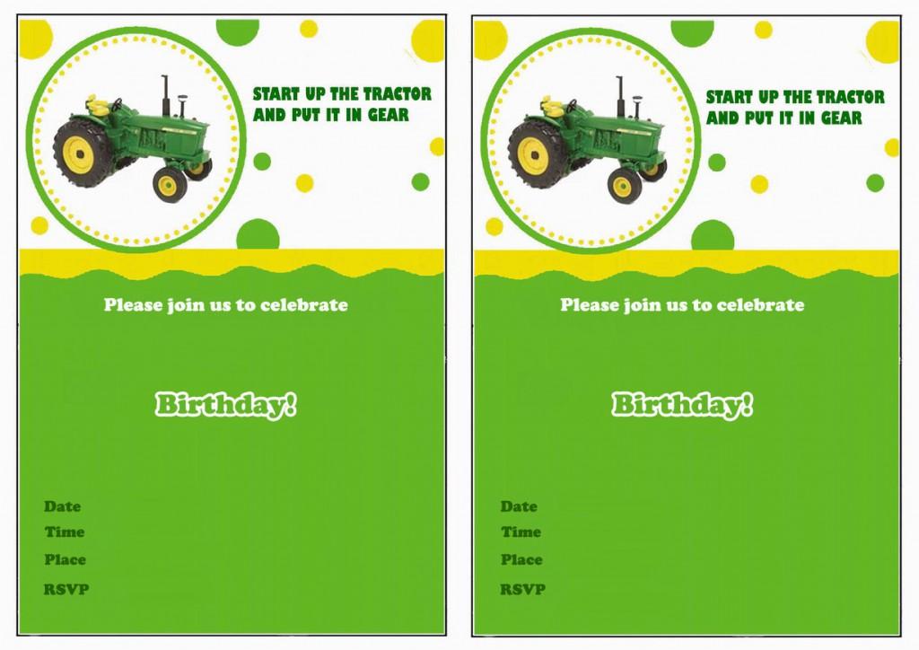 John Deere Birthday Invitations Birthday Printable