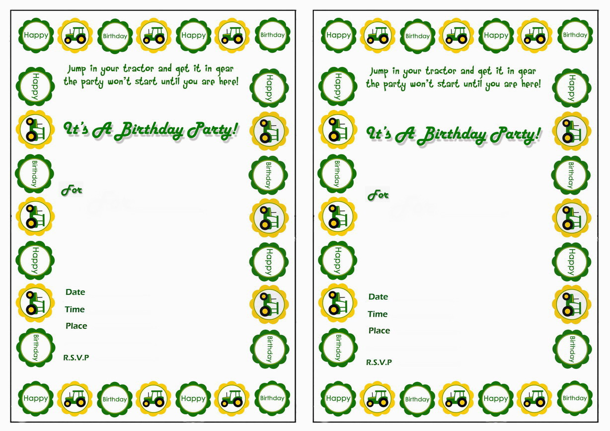 John Deere Printable Birthday Invitations