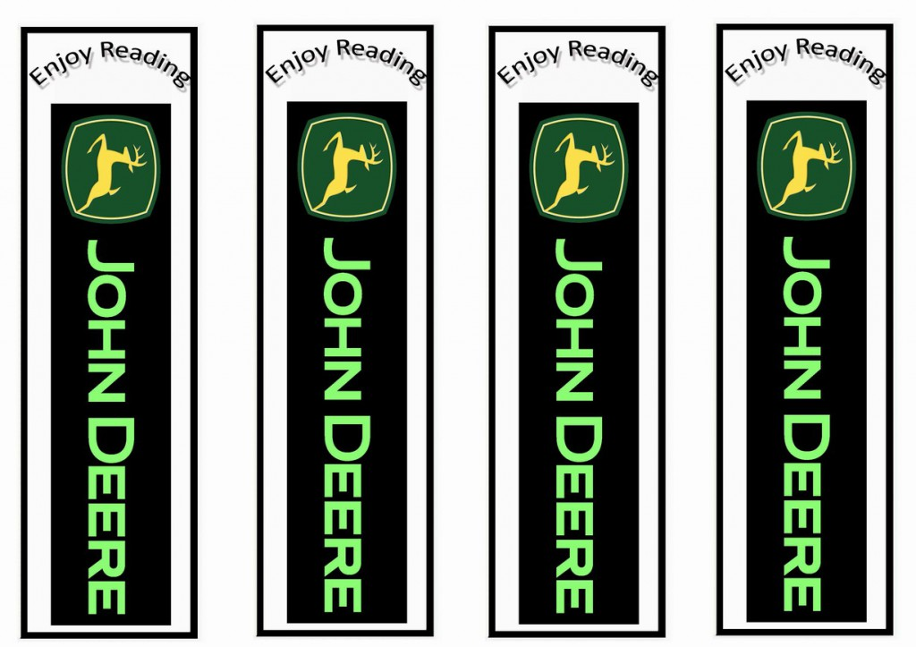 John Deere Bookmarks Birthday Printable