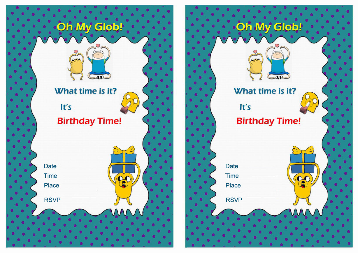 Adventure Time Birthday Invitations Birthday Printable