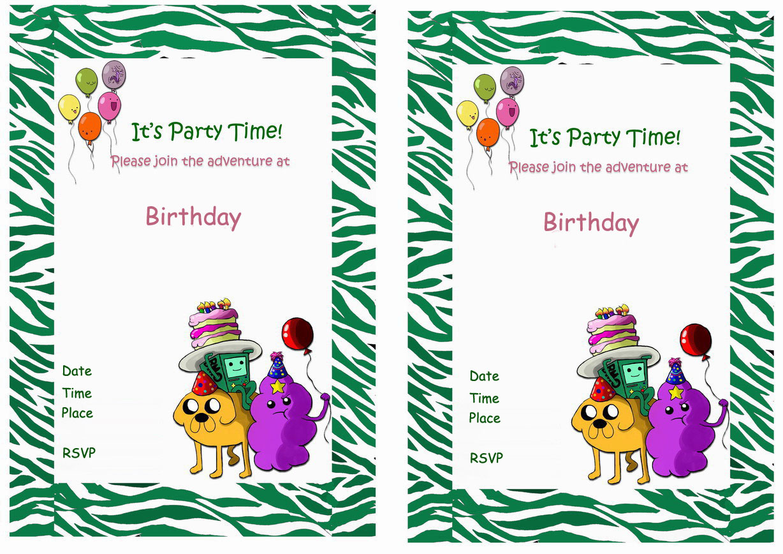 Adventure Time Birthday Invitations Birthday Printable