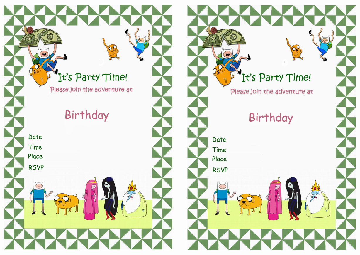 Adventure Time Birthday Invitations – Birthday Printable