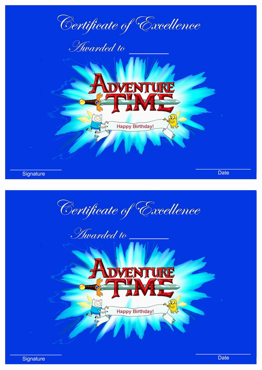 Adventure Time Awards Birthday Printable