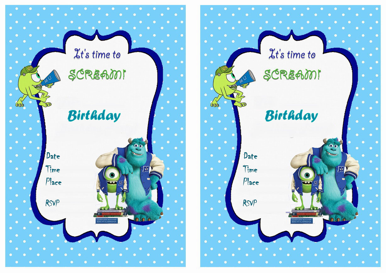 Monsters University Birthday Invitations – Birthday Printable