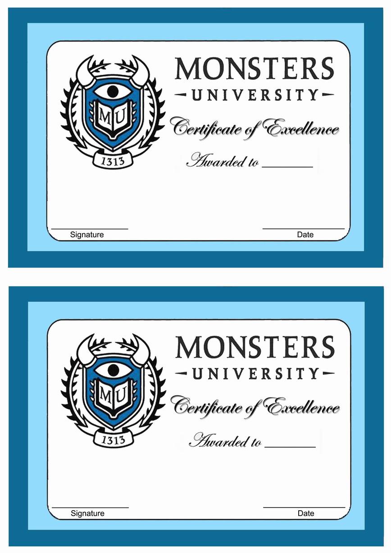 Monsters University Awards – Birthday Printable