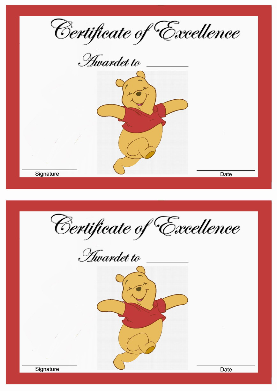 Winnie the Pooh Awards Birthday Printable