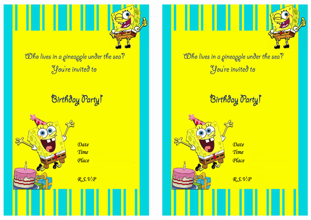 Spongebob Birthday Invitations – Birthday Printable