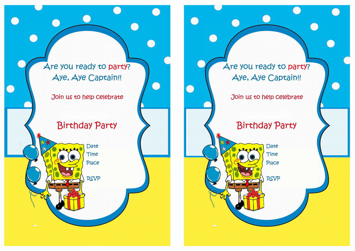 Spongebob Birthday Printable – Spongebob Party Invitations