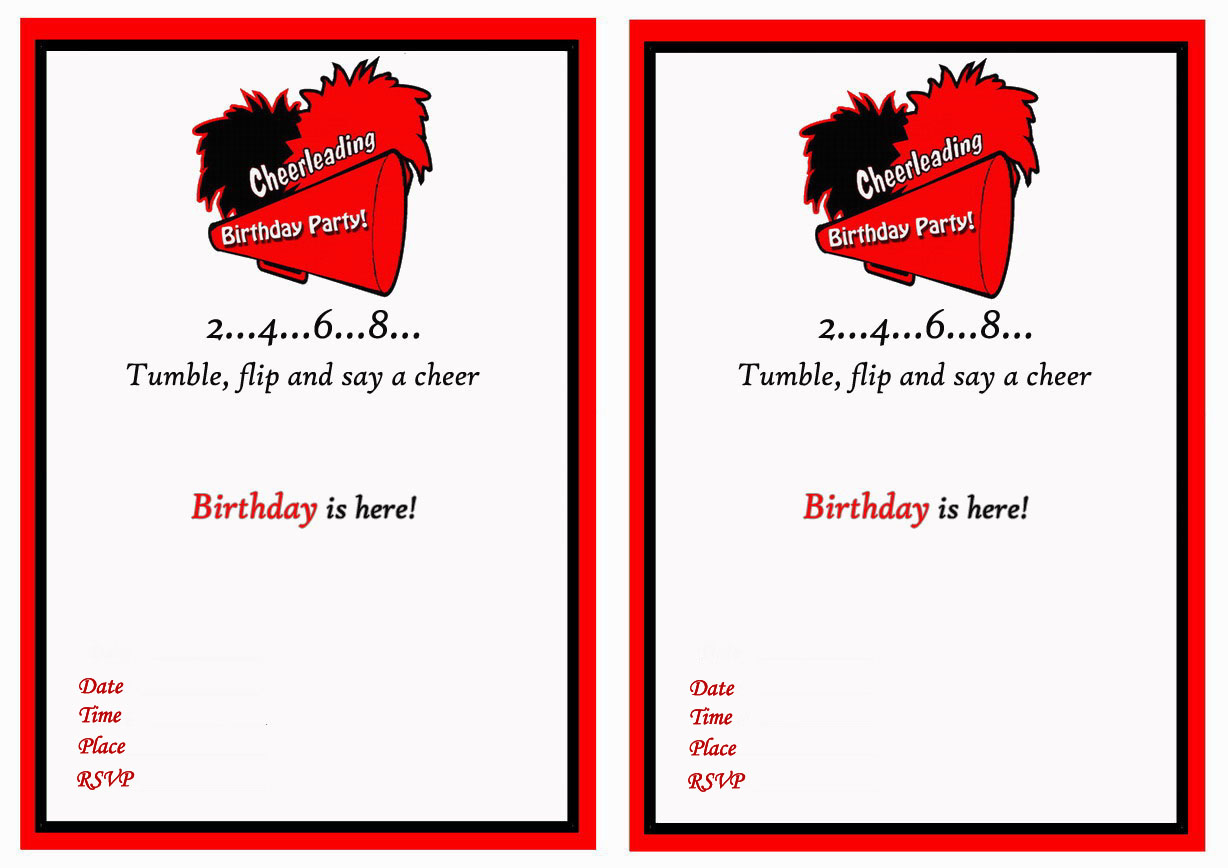 Cheerleading Birthday Invitations – Birthday Printable