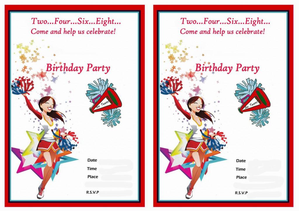 Cheerleading Birthday Invitations – Birthday Printable