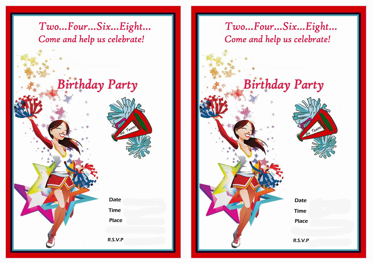 Cheerleading Birthday Invitations Birthday Printable