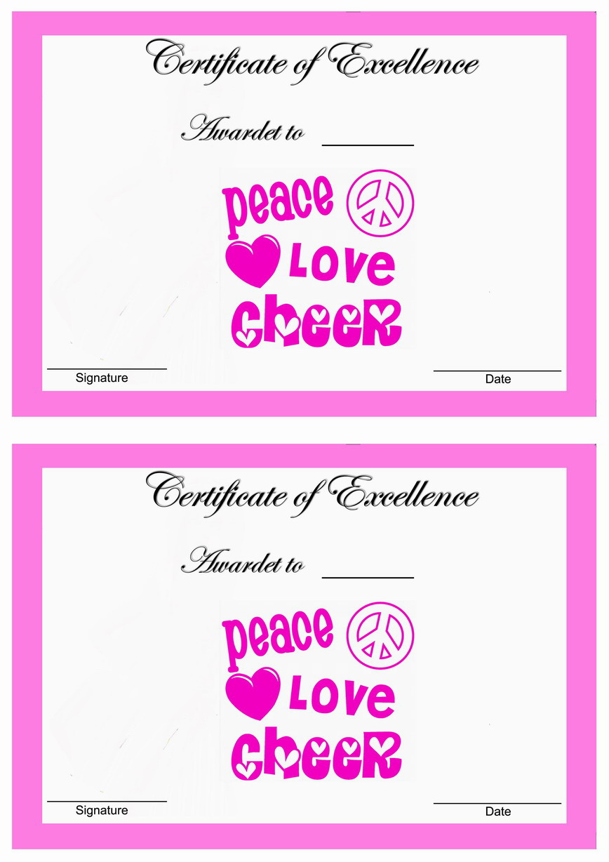 Cheerleading certificate templates and free printable on pinterest for Cheerleading templates printable
