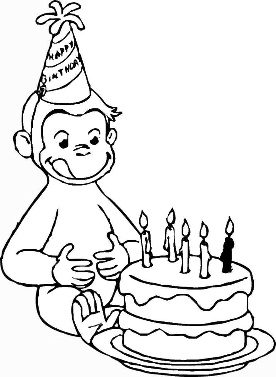 Curious george coloring pages birthday printable for Curious george printable coloring pages