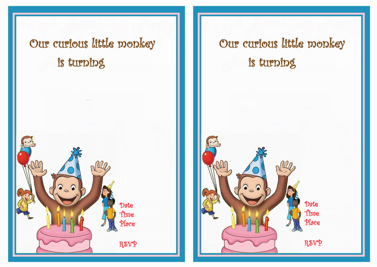 Curious George Birthday Invitations Birthday Printable