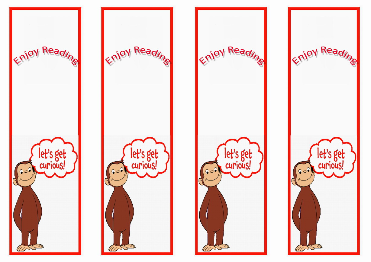 Curious George Bookmarks Birthday Printable