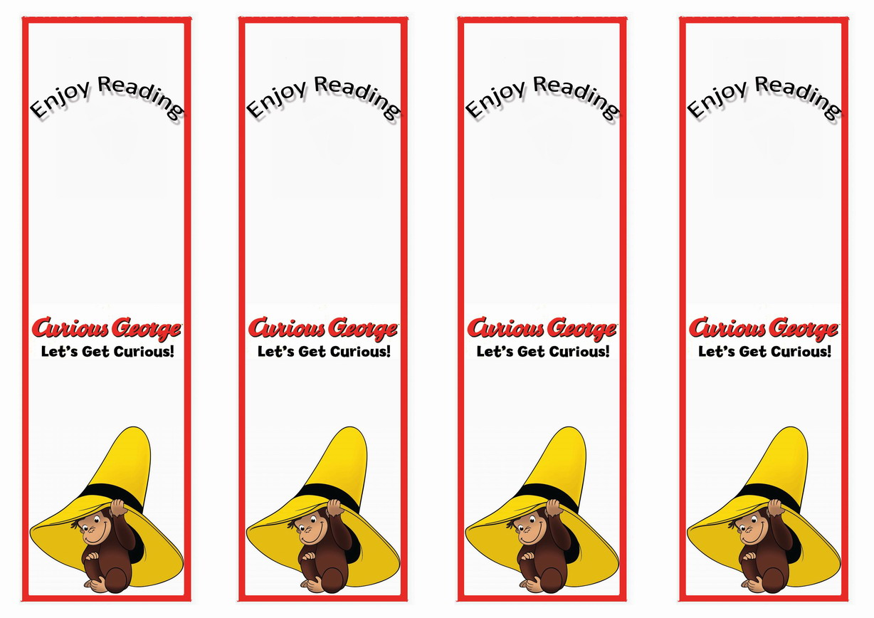 graphic relating to Curious George Printable known as Curious George Bookmarks Birthday Printable