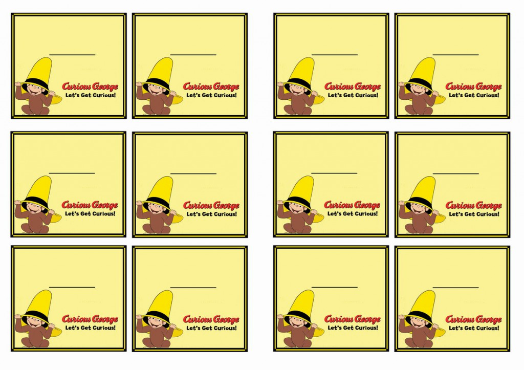 Curious George Name Tags Birthday Printable