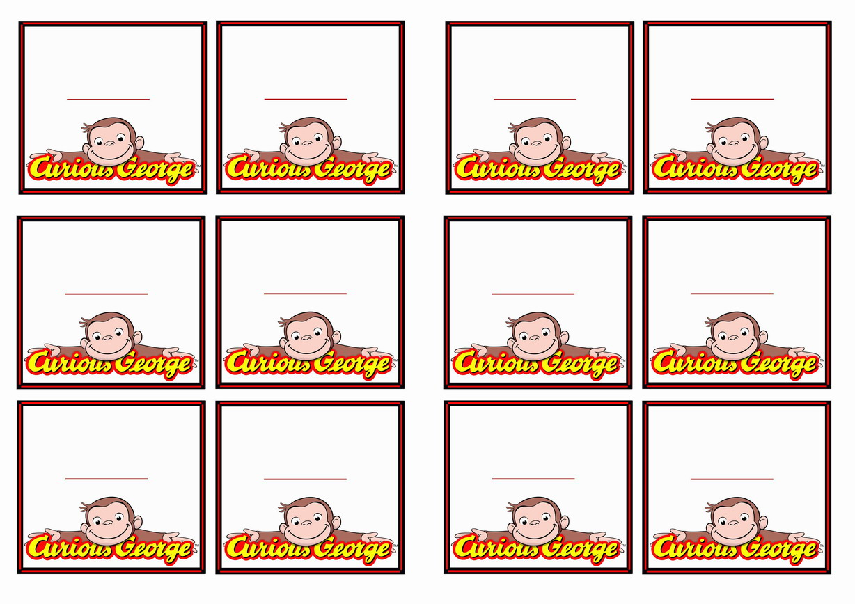 curious george name tags