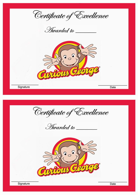 curious george awards  u2013 birthday printable