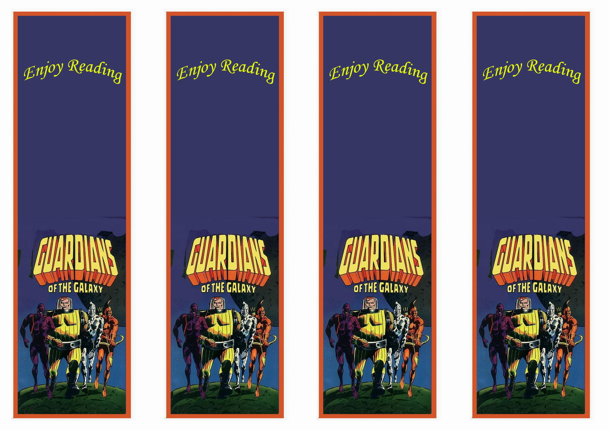 Guardians Of The Galaxy Bookmarks Birthday Printable