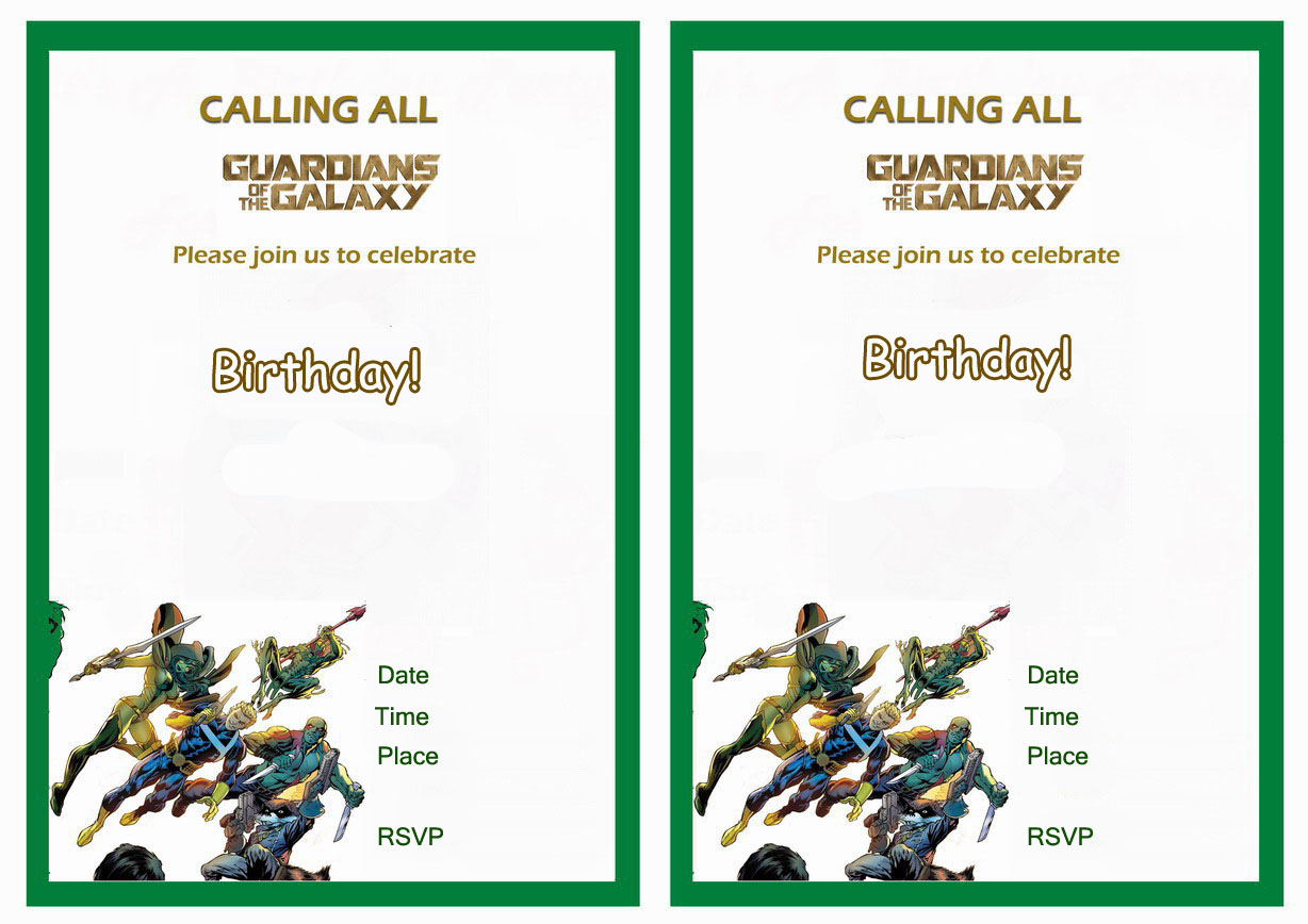 guardians of the galaxy birthday invitations