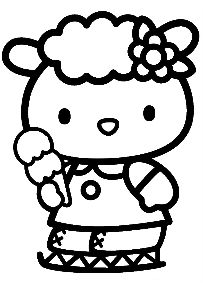 Hello kitty coloring pages birthday printable for Coloring pages of hello kitty