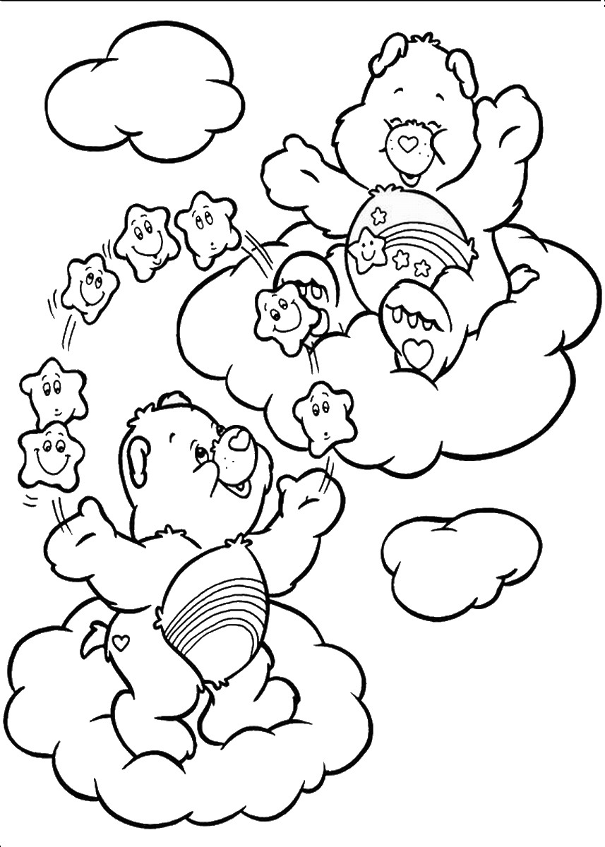 Care bear birthday coloring pages for Care bears coloring pages