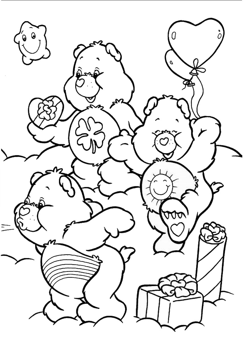 Care bears coloring pages birthday printable for Care bears coloring pages