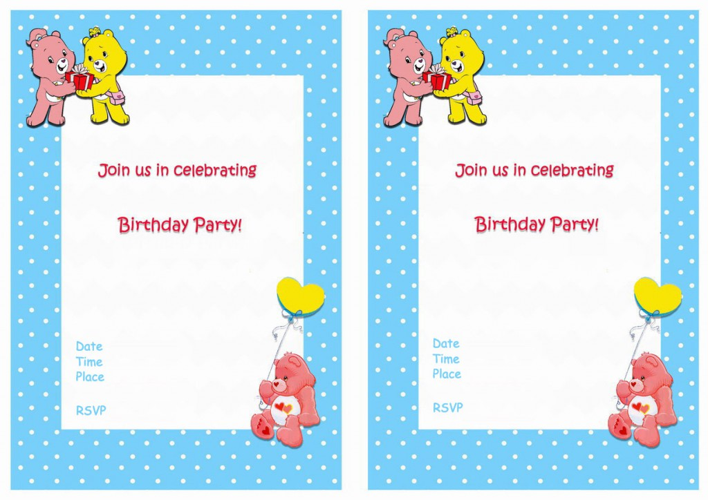 Care Bears Birthday Invitations Birthday Printable