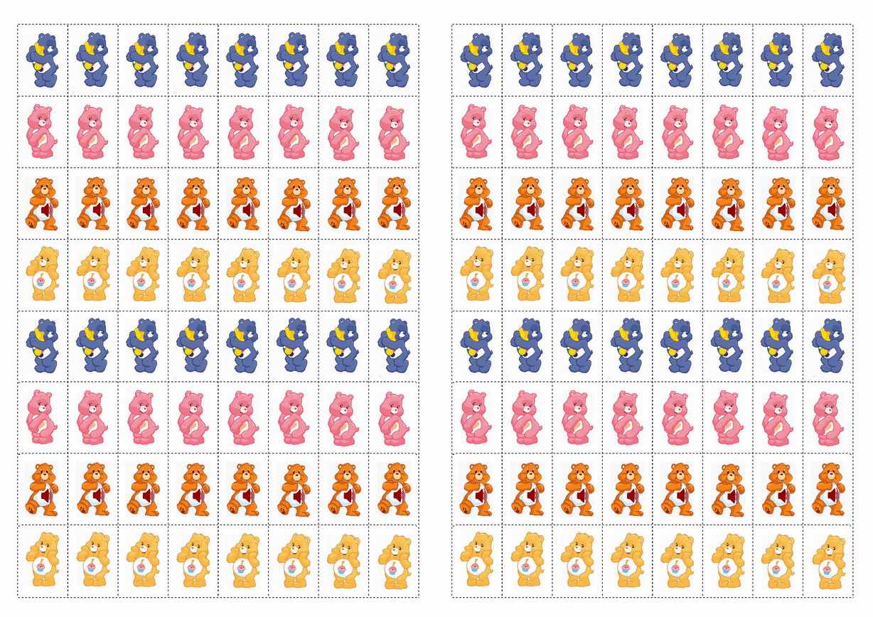 Care Bears Stickers Birthday Printable