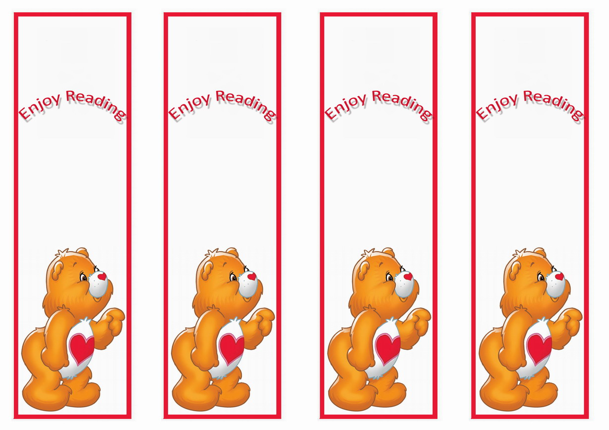 Care Bears Bookmarks Birthday Printable