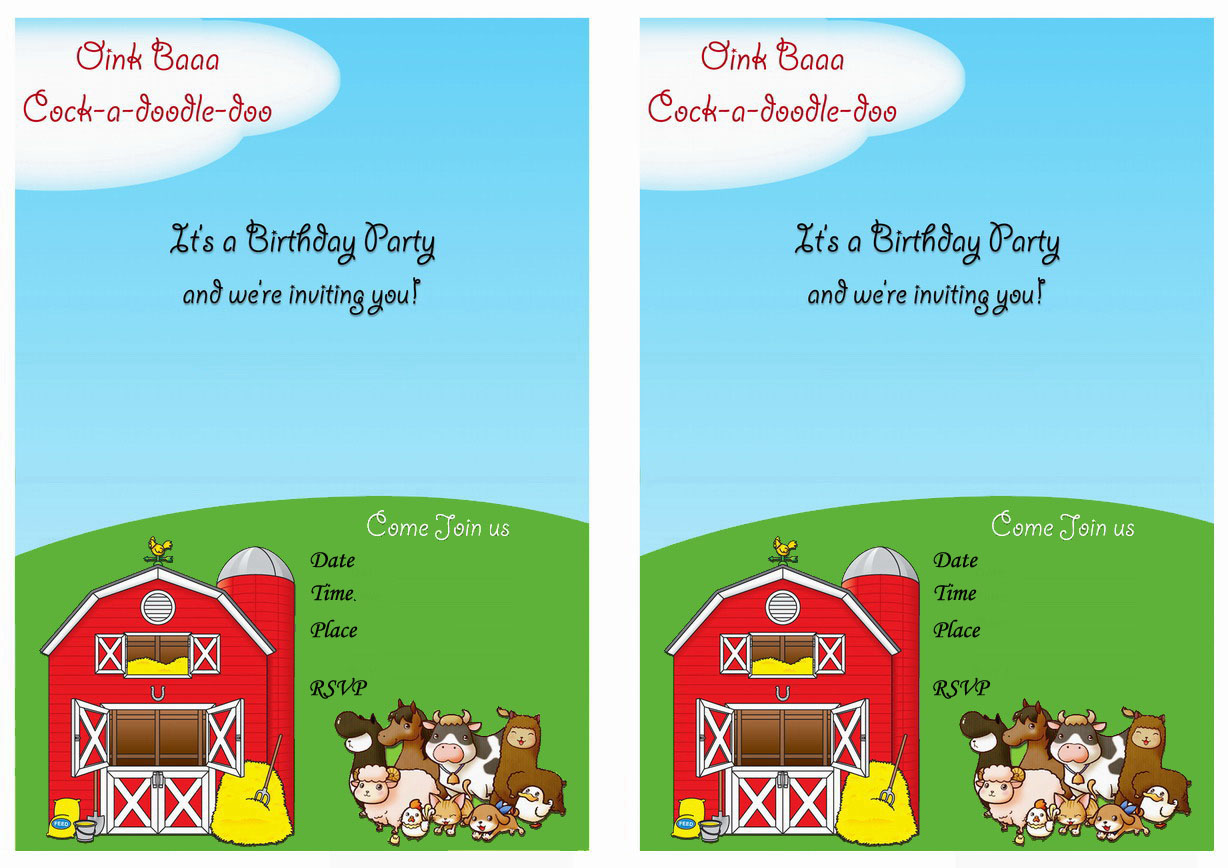 Barnyard Birthday Invitations Birthday Printable