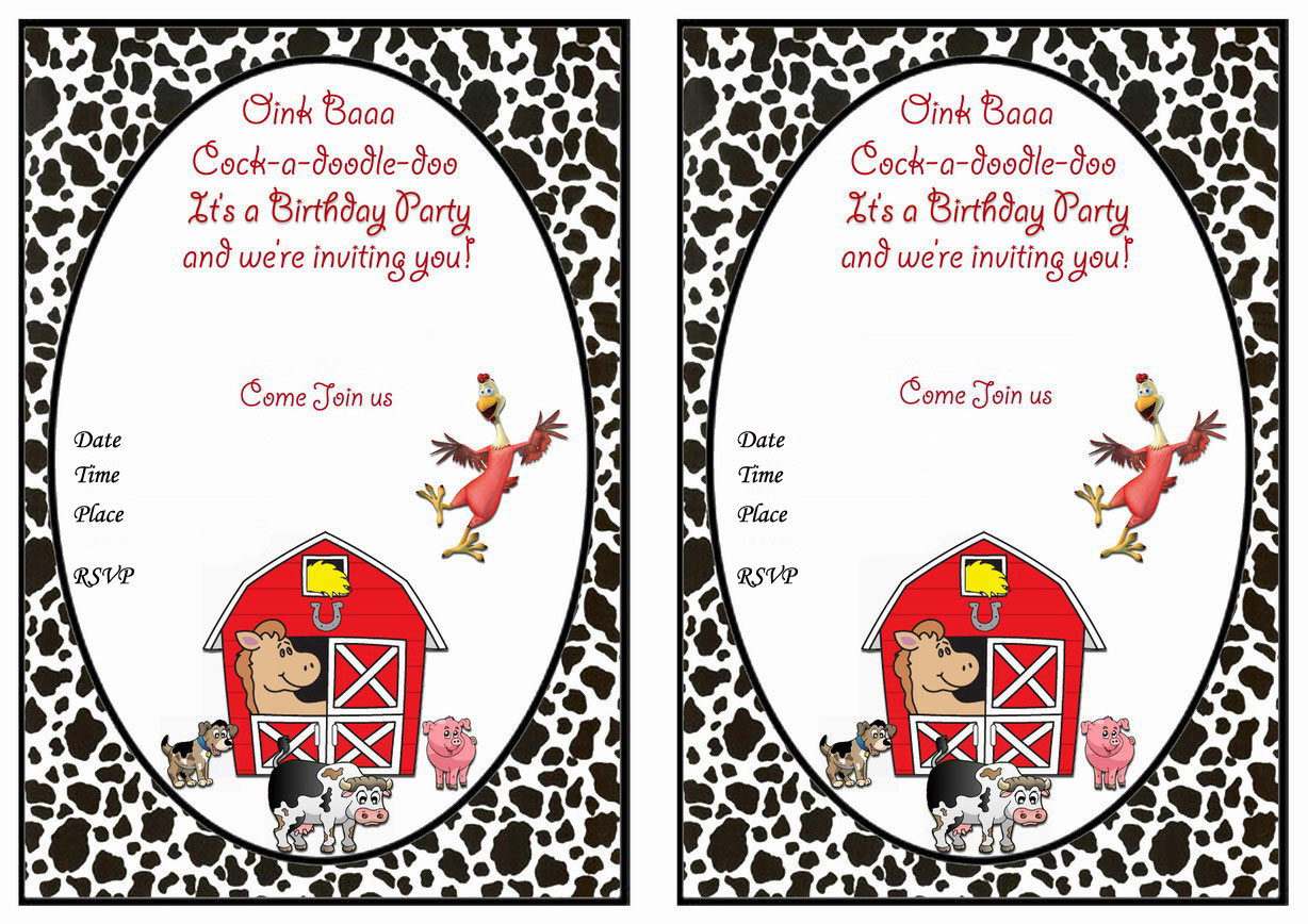 Barnyard Birthday Invitations – Birthday Printable